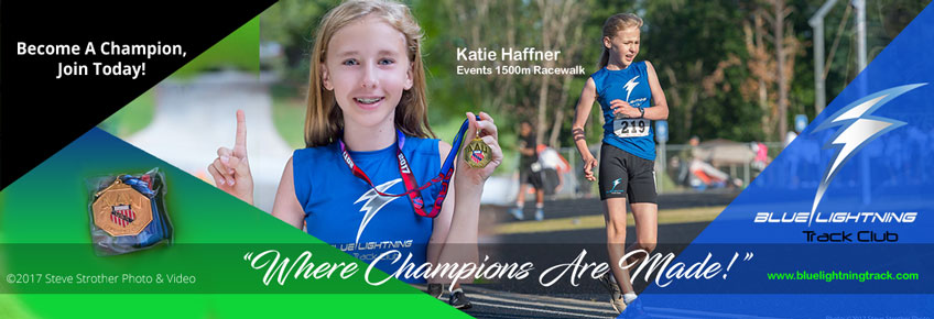 Katie Haffner, 2017 AAU Georgia District and State 1500 Racewalk Champion. She will represent Georgia in the AAU Regional Qualifier in South Carolina, June 29, for the National Junior Olympics in Detroit, July 28.