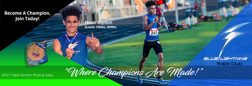 Noah Gipson, 2017 AAU Georgia District and State 3000 meters Champion. He will represent Georgia in the AAU Regional Qualifier in South Carolina, June 29, for the National Junior Olympics in Detroit, July 28.