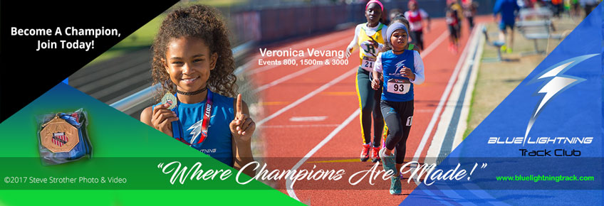 Veronica Vevang, 2017 AAU Georgia District and State 3000 meters Champion. She will represent Georgia in the AAU Regional Qualifier in South Carolina, June 29, for the National Junior Olympics in Detroit, July 28.