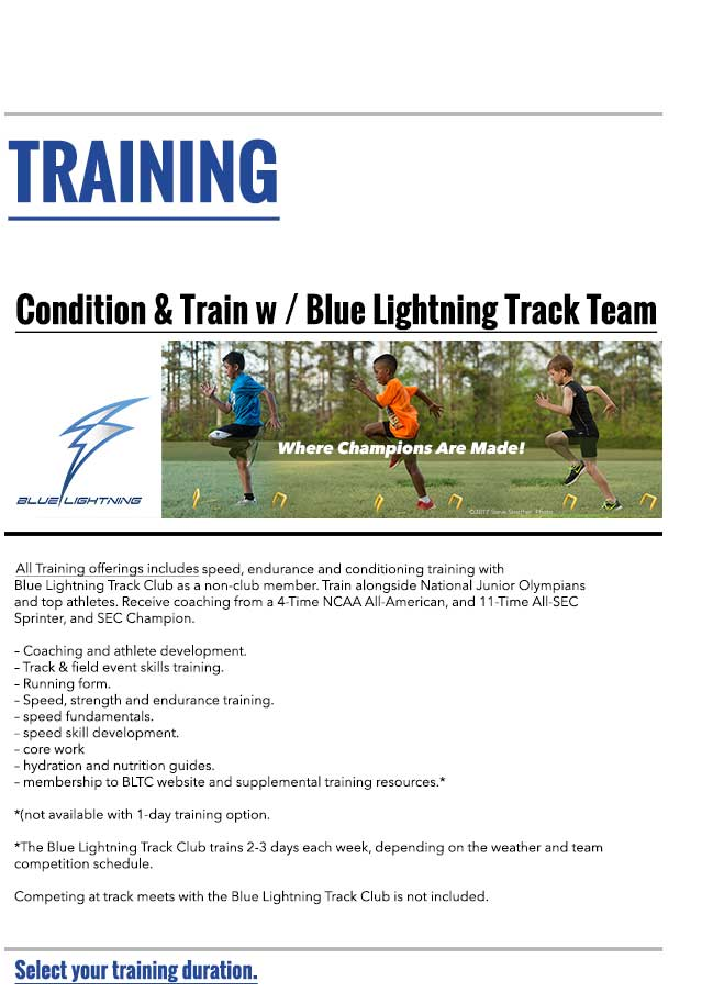 Train with the Blue Lightning Track Club - Where Champions Are Made!