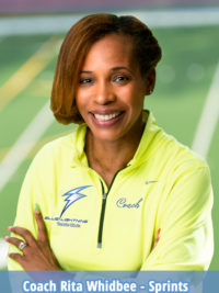 Coach Rita, Whidbee, Georgia H.S. State Champion and Junior Olympic medalist,brings National collegiate athletics experience to the Blue Lightning Track Club. Conyers, GA.